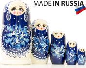 "Russian Nesting Doll - ""Snow Queen"" - Hand Painted in Russia -- MEDIUM SIZE - Traditional Matryoshka Babushka (6.75``"