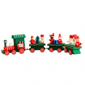 OULII Cute Wooden Mini Train Ornaments Kids Gift Toys for Christmas Party Kindergarten Decoration