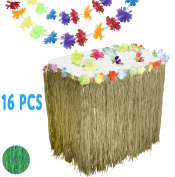 Hawaiian Luau Party Supplies Set w/ 9' Natural Colour Grass Table Skirt, 12 Hibiscus Blossoms, & 3 Long 9' Flower Lei Garlands