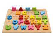 Motrent Stand Up Wooden Alphabet Puzzle Board Toy for Kids