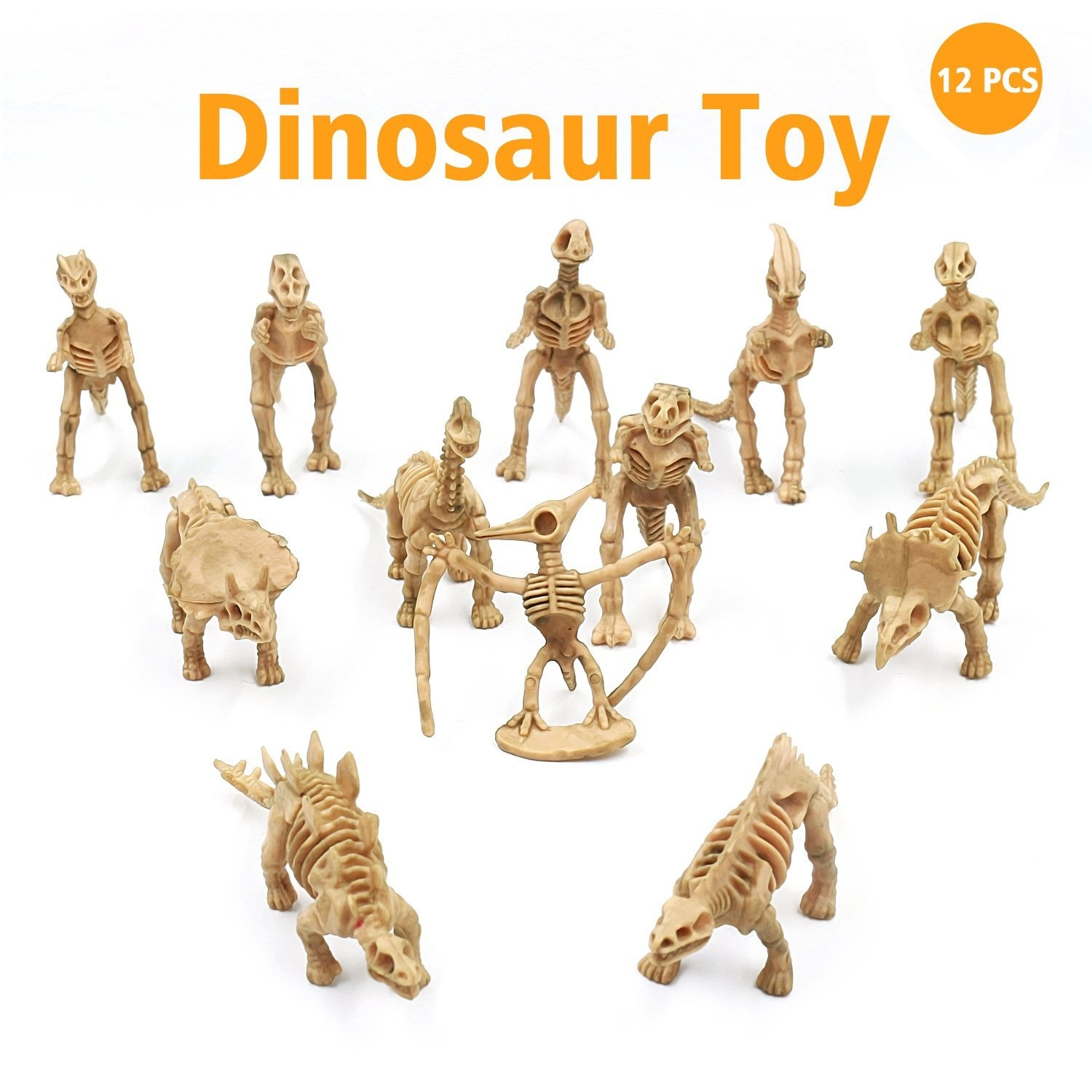 Dinosaur Fossil Toy Assorted Skeleton Figures Toys 12 Pcs for Kids Boys  Girls Party Play Time Games