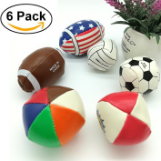 Soft 6 Pack Sensory PU Football Ball Toys for Kids and Babies,Massage Soft & Textured Balls Set Develop Baby's Tactile Senses Toys for Infant Tounch Hand Ball