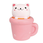 Stress Relief Toy, ACAREU Jumbo Animal squishies Cat cup Slow Rising Sweet Scented Vent Charms Kawaii Kid Toy Hand Wrist Toy Gift