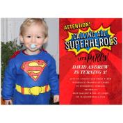 Superhero Party Birthday Young Boy Invitation