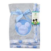 Mickey Mouse Soft Applique Blanket. Blue. 80cm x 80cm
