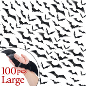 Ivenf #Updated# 100 Pack Large Halloween Scary Bats 3D Wall Decals Window Decor, Party Supplies Decorations