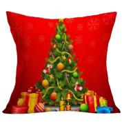 Gotd Merry Christmas Pillow Case Gifts under Christmas Tree Xmas 18 x 18 Cushion Cover Merry Chritmas Home Decor Design Throw Pillow Cover Pillow Case 46cm x 46cm Cotton Linen for Sofa