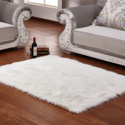 wendana Faux Sheepskin Area Rug Silky Shag Rug White Fluffy Carpet Rugs Floor Area Rugs Decorative for Living Room Girls Bedrooms 0.6m x 0.9m
