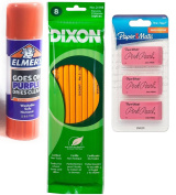 Bundle Dixon No 2/HB 8CT & Paper Mate Pink Pearl Premium Erasers, 3 Pack, Large (70501) & Elmer's Disappearing Purple School Glue Sticks, 25ml
