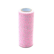 IDS Sparkling Sequin Tulle Fabric Bolt Tulle Ribbon Roll, Wedding Party Gift Bow Craft Sequin Tulle Roll Spool Tutu Party Banquet Decor Gift Wrap, 15cm x 25yd, Pink
