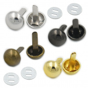 "Bluemoona 20 Sets - 10mm 3/8"" Round Feet NAILHEADS Stud Spike Bag Leather Craft & Washers Purse Handbag Gold"