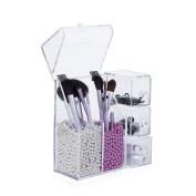 Makeup Organiser Acrylic Cosmetic Storage - AWAYTR Elegant Makeup Brushes Holder Makeup Sponge Storage Box with Drawer