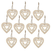 YOBAYE Wooden Hollow Flower Hearts with String for Crafts Wedding Party Decoration Hanging Ornament,10pcs/Pack