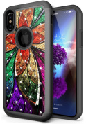 NEEDOON iPhone X Case Slim Hard Silicone Dual Layer Rhinestone Durable Full Body Protective Cover for 15cm