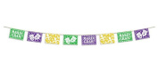 Club Pack of 12 Mardi Gras Purple, Green & Gold Picado Style Banner Party Decorations 20cm x 3.7m