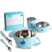 DIGUMI Complete BPA Free Baby Child Feeding Set, Light Blue, 6 Months