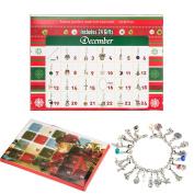 Zhuofu Christmas Advent Calendar Charm Bracelet Necklace DIY 22 Charms Set Fashion Jewellery Advent Calendars for Kids Christmas Toy