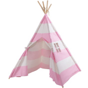 Costzon Indian Play Tent 1.5m Cotton Canvas Children Playhouse with Carry Bag Kids Teepee, White and Pink