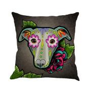 Inverlee Greyhound Painted Flax Cushion Cover Throw Pillow Case Sofa Home Decor