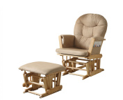 ACME Rehan 2-Piece Pack Glider Chair & Ottoman, Taupe Microfiber & Natural Oak