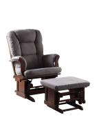 ACME Aeron 2-Piece Pack Glider Chair & Ottoman, Grey Microfiber & Cherry