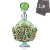 Pewter Peacock Figurine Heart Shaped Jewellery Perfume Bottle Frosted Green Mini Scented Fragrance Container