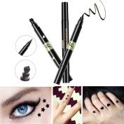 Tianmeijia 3Pcs Black Liquid Eyeliner Waterproof Long-lasting Eyeliner Pencil Pen Sparkle Stamp Star Heart Shape Moon Shape Makeup Cosmetic Tools