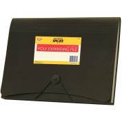 School Smart Poly Expanding File, 13 Pockets, Black