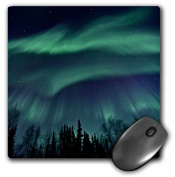 3dRose Northern Lights in Shade of Green Amongst a Dark Blue Night Sky, Mouse Pad, 20cm by 20cm