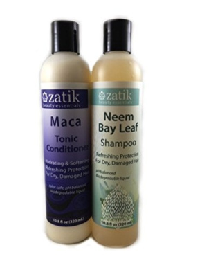 Zatik Natural – Shampoo and Conditioner Set (320ml ea.) Neem Bay Leaf and Maca – Men and Women with Dry, Damaged, Coloured Hair – Sulphate Free - USDA Certified Organic