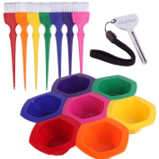 Small Hair Colouring Dye Mixing Tint Bowls and Brush Kit - Set of 7 Different Rainbow Colour