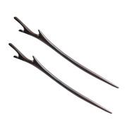 FANTAC CRAFTS 2 Pieces Ebony Black Wood Hair Stick Handmade Carved Hairpin Deer Antler Shape Hair Accessories Chignon Bun Updo Pin