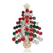 Meiyuan Colourful Rhinestone Christmas Tree Brooch Pin Xmas Gift Jewellery