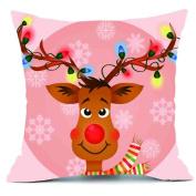 Mose Merry Christmas Cotton Linen Sofa Cute Elk Car Home Decor Throw Pillow Case Cover