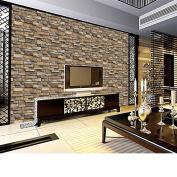 Molyveva Brick Stone Rustic Effect Vivid Wall Sticker Self-adhesive 3D Wall Paper House Decor