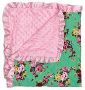 Dear Baby Gear Baby Blankets, Vintage Floral Pink Roses on Mint, Pink Minky
