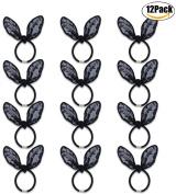 Fascigirl 12 Pieces Lace Rabbit Ear Elastic Hair Ties Ponytail Holders Hair Band