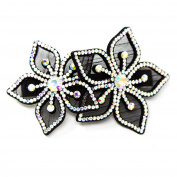 Sparkly Hair Barrette Felt Back Pave Flowers Rhinestone Crystal Bridal Hair Clip Pin Barrette By Beautyxyz