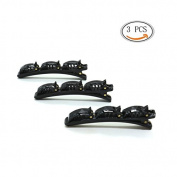 IDS Set of 3 Fashion Sweet Double Layer band Twist Plait Clip, Front hair clips hairpin Beauty Tool, Black