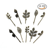 IDS 10pcs Vintage Mix Style Bronze Athena Olive Branch Leaf Hair Clip, Vintage Leaf Flower Shape Hair Clip, Leaves Barrettes Bobby Pin Bride Headwear Edge Clip Clamps