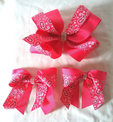 New Paisley Hair Bows with Rhinestone Accent, 1 Big Hair Bow and 2 Small Bows Hair Clips Accessories - (3 Items) (Pink)