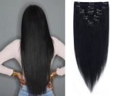 FIRSTLIKE Thin weft 41cm Highlight Straight Full Head Clip in Hair Extensions 8 Piece 18 Clips Remy Human Hair