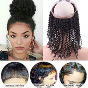 Serafina Pre Plucked Kinky Curly 360 Lace Frontal Closure Brazilian Virgin Human Hair Full Lace Frontal with Baby Hair Free Part Natural Colour 110% Density 46cm