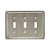 Brainerd Mfg Co/Liberty Hdw W10247-SN-U Toggle Wall Plate, 3-Gang, Stamped, Round, Satin Nickel Steel