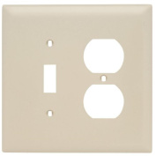 Jumbo Combo Plate, One Toggle Switch/One Duplex Opening, Two Gang , Ivory