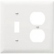 2-Gang. 1-Duplex Outlet Opening And 1-Toggle Opening Wall Plate, Nylon, White