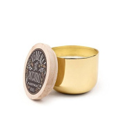 Paddywax Foundry Soy Wax Candle Tin with Wood Lid, Verbena and Patchouli, 150ml, Gold