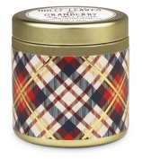 Tartan Holiday Collection Soy Wax Gold Travel Tin Candle, Holly Leaves & Cranberry