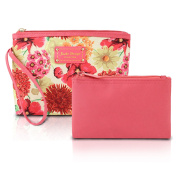 TrendyFlyer 2pc Cosmetics Ladies Clutch Toiletry Makeup Bag Floral Pink