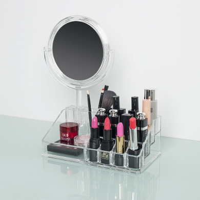 ilikable Makeup Organiser with 5X Magnifying Mirror Acrylic Vanity Mirror Countertop Cosmetic Organiser Lipsticks Brushes Holder for Bedroom Bathroom